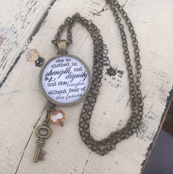 She Is Clothed With Strength And Dignity Bracelet: She Is Clothed In Strength And Dignity Necklace By