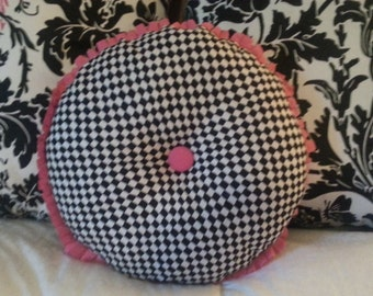 Mckenzie Childs style pillow cover black check. pink