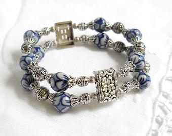 blue stretch bracelet delft blue bracelet double strand bracelet blue and white bracelet delft blue jewelry