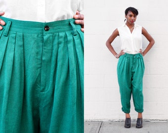 80s Liz Sport Emerald Green Pleated Trousers SIZE L
