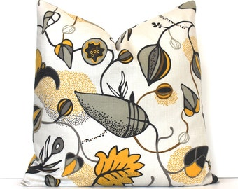 Yellow and Grey Botanical print Decorative Pillow Cover Accent floral leaves bold spring natural gray charcoal citrine gold black tan cream