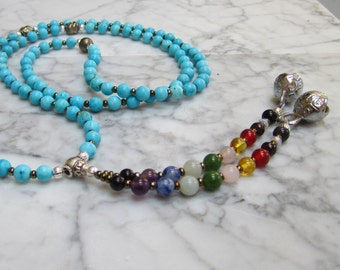 Mantra Mala  - Natural Turquoise 108 Stone and Crystal Throat Chakra Necklace with Full Spectrum Tassel and Bells