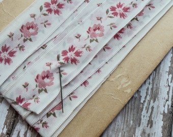 4 Yards Vintage Floral Fabric Ribbon with Pink Flowers Shabby Cottage Chic Decor Craft Hairbow Millinery Supply