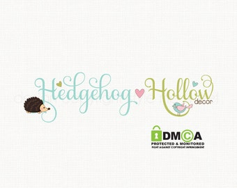 hedgehog logo design woodland logo design kawaii logo design bespoke logo design boutique logo design baby logo design premade logo