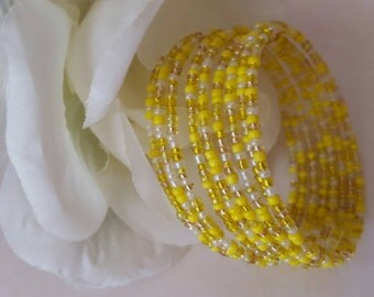 Sunshine YellowMemory Wire Wrap Bangle Bracelet