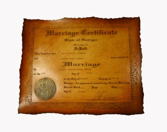 Custom Leather  Marriage Certificate or third anniversary scroll