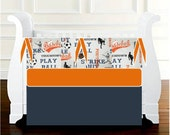Baby Boy Crib Bedding Sports Orange Navy