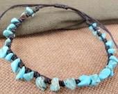 Casual Strand Turquoise Chip Stone Bracelet