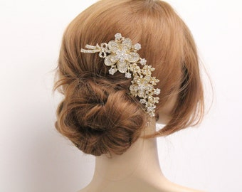 Bridal hair comb Gold Wedding hair comb Wedding hair accessories Bridal hair piece Wedding headpiece Bridal comb Gold Wedding hair jewelry