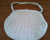 Vintage White Beaded Purse Made for The Broadway