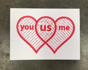 Love Heart Venn Diagram Greeting Card