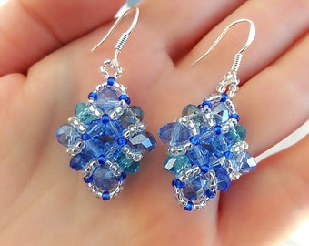 Sparkling Crystal Earrings. Blue Turquoise Aquamarine Silver Beaded Earrings. Seed Beads Earrings. Handmade jewelry. Gift ideas for her