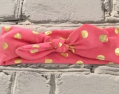 Boutique Baby Top Knot Watermelon and Gold Polka Dot Headband Top knot Headband White and Gold Turban Headband Twisted Knot Headband