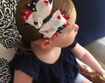 NEW ITEM Boutique Baby Girls Layered 4th ofJuly Hair Bow Clip Patriotic Bow Red White and Blue Hairbow Star Hair Bow Clip 4th of July C