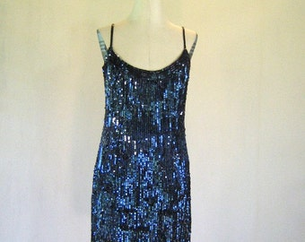 Glittery Twilight Blue Sequin Evening Dress Glam
