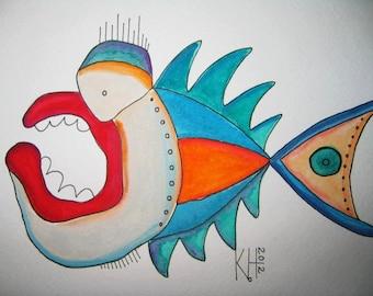 Fish Watercolor J1, Original Watercolor Painting, by Fig Jam Studio