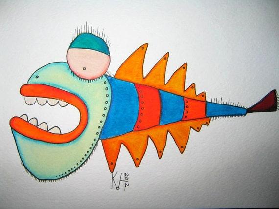 Fish Watercolor J8, Original Watercolor Painting, by Fig Jam Studio