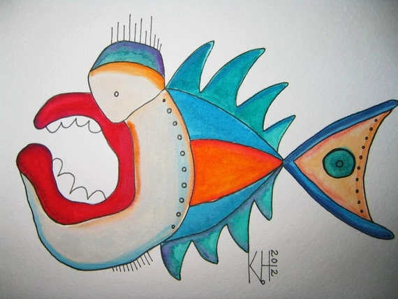 Fish Watercolor J1, Original Watercolor Painting, Wall Decor, by Fig Jam Studio