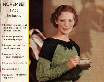 Stitchcraft November 1933, Art Deco handcrafts - Vintage Knitting Pattern booklet PDF