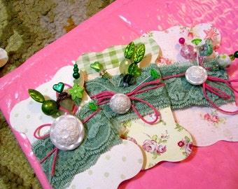 3 Terrific Fab Gift, Stick, Corsage, Hat, Party, Trinket Decorated Sewing PINS, BUTTON, Shabby Chic Fabric Printed TAGS/Cards - Fabulous