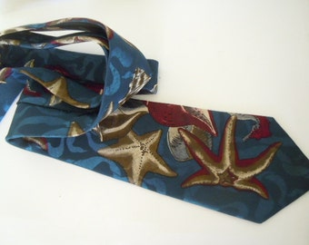 Seashell Necktie Wembley Starshine Prints Beach Dad Gift