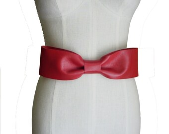 Red Bow Belt Leather Black & Red Wedding Big Bow Belt Lambskin Wedding Dress or Evening Belt in stock