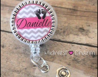 OB..Personalized retractable badge reel with  pinch clip..nurse.labor and delivery..lpn..rn..md..id holder..lanyard..bottlecap jewelry