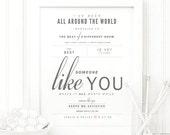 "Van Morrison ""Someone Like You"" - Grey and Blush - Valentine's, Wedding Gift, Cotton, Paper Anniversary Gift, Song Lyrics, Art Print"