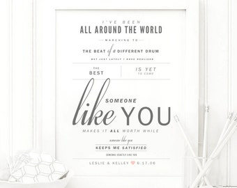 "Van Morrison ""Someone Like You"" - Grey and Blush - Valentine's, Wedding Gift, Cotton, Paper Anniversary Gift, Song Lyrics, Art Print"