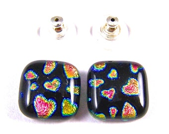 """Dichroic Hearts Post or Clip-On Earrings - Small 1/2"""" 12mm - Valentine Love Heart Patterned -  Pink Gold Rainbow Dichro Black"""