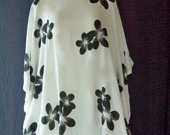 Poncho, Caftan, Bathing Suit Cover Up, Maternity Top ~ White Plumeria
