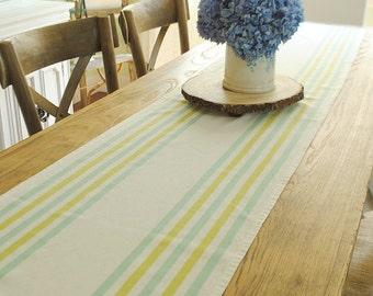 Aqua and Lime farmhouse table runner- Large