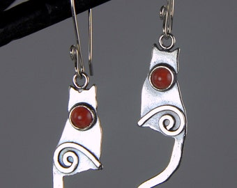 Shiny Sterling Silver Cat Earrings, Bamboo Coral Silver Kitty Earrings with Spirals, Shiny Silver Kitten Earrings, Red Orange Silver Cats