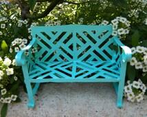 Fairy Garden Bench Miniature Bench Miniature Furniture Fairy Bench Bright Robins Egg Blue Bench Fairy Accessory terrarium