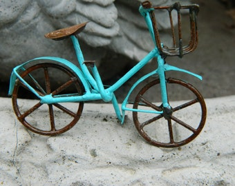 Miniature Bicycle- bike for fairy garden-accessories for terrarium or fairy garden-Miniature robins egg blue bike