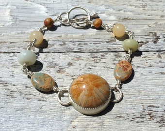 Madagascar Sand Dollar Fossil bracelet in sterling silver with Amazonite, marble and jasper accents, fossil jewelry, beach jewelry