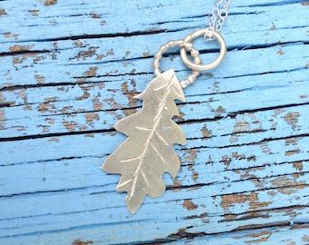 Botanical gardens collection Sterling silver Oak Leaf pendant. Gardening gifts, leaf pendant, flower garden, chihuli,