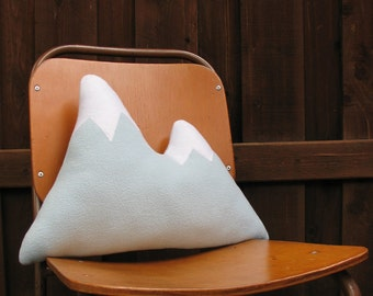Mountain pillow Matterhorn mountain range accent pillow gray grey plush fleece white eco felt ecofelt snow cap snowcap snowcapped peak peaks