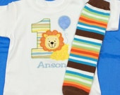 Boys Lion and Balloon Birthday Onezie and LEG WARMER Set Personalized Embroidered Applique Circus Zoo 1st 2nd 3rd Girls
