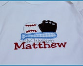 Personalized Baseball T Shirt Bodysuit or Bib Boys Embroidered Applique Sports Any Number 1st 2nd 3rd 4th 5th