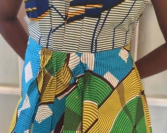 African Print Pleeted Blouse
