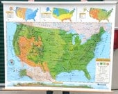 Vintage Educational Pull Down School Map