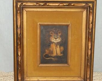 Vintage 1980s Original Oil on Canvas, Laguna Beach Artist, Whimsical Lion
