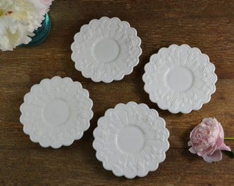 4 Westmoreland Paneled Grapes Saucers -Milk Glass
