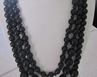 BLACK beaded 3-tier necklace