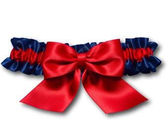 Wedding garter - bridal garter - navy blue and red garter with a red bow - red wedding garter - red satin toss garter - red and blue garter