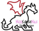 Dragon 3 Design Machine Applique Embroidery Design, Mulitple Sizes