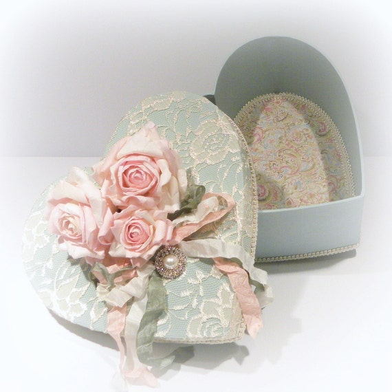Shabby Chic Decor Shabby Chic Lace Box Heart Box Lacy Box
