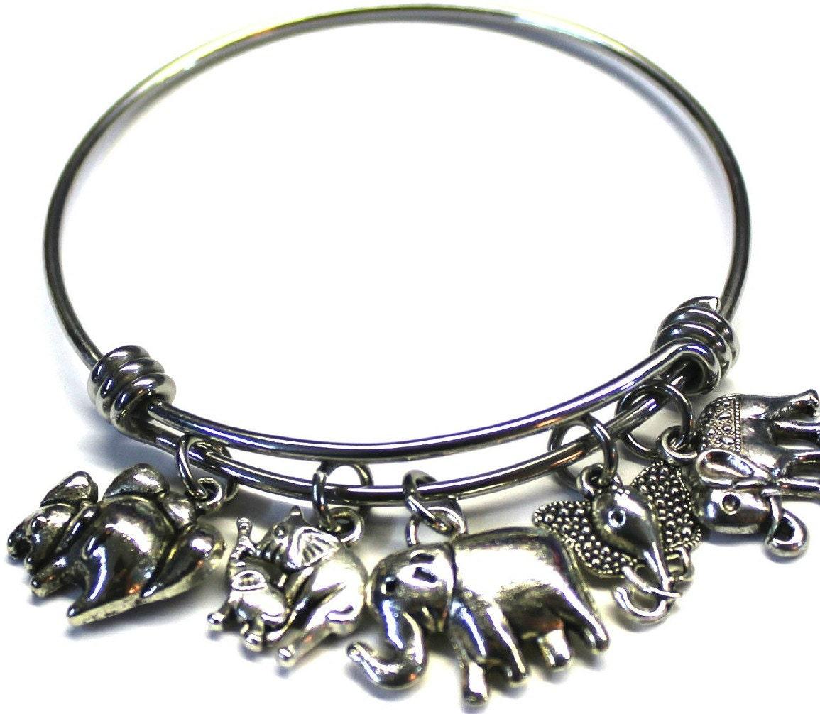 elephant theme adjustable bracelet bangle expandable