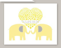 """Yellow and Gray Elephant Art You Are My Sunshine """" You'll never know dear"""" Art Print  many colors by YassisPlace 086"""